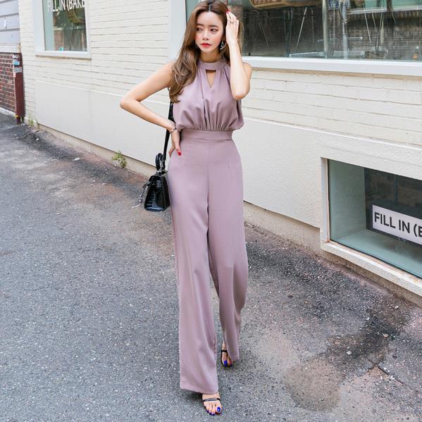Oficina señora sin mangas Delgado mujeres Jumpsuit elegante trabajo negocios pierna ancha pantalón Casual monos femeninos 2020 AE964
