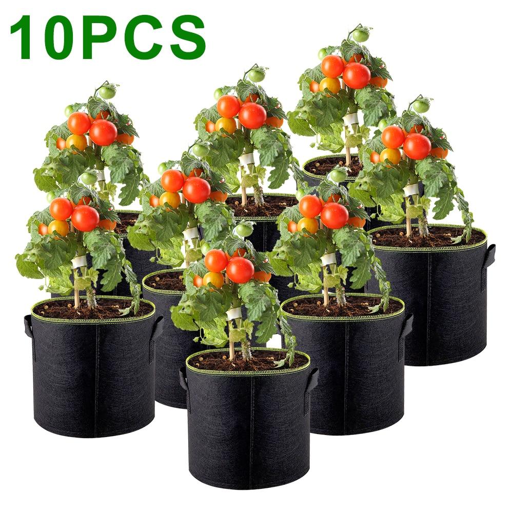 5Pcs Grow Bags Felt Planter Growing 5/7/10 Gallon Gardening Fabric Flower Pots Vegetable Garden Flower Planting Pots Garten Tool