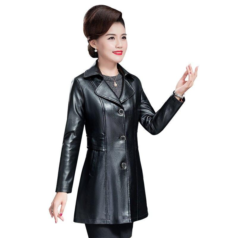 Модная куртка из искусственной кожи для женщин среднего возраста, демисезонные однобортные Куртки из искусственной кожи, женская уличная о...