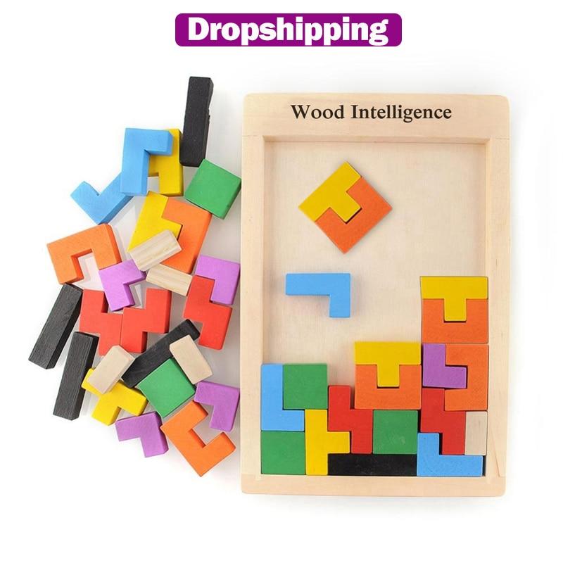 Puzle 3D de madera Tangram juguetes de matemáticas para juego Tetris niños juguete educativo intelectual de maginación preescolar para niños