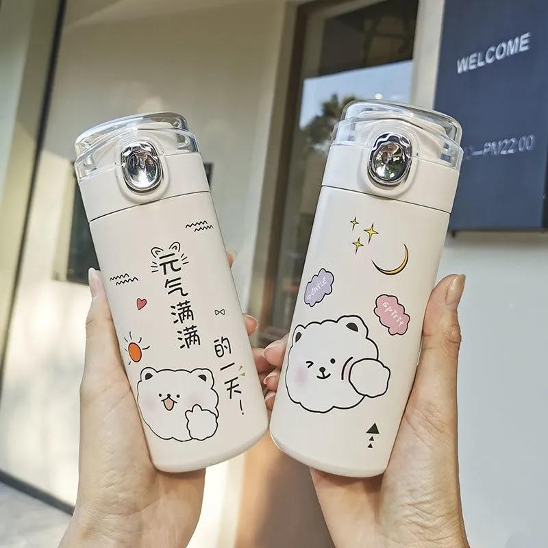 لطيف الكورية نمط زجاجة تُرمُس الإبداعية 304 قنينة من الفولاذ المقاوم للصدأ فراغ كوب للنساء كوب للسفر Kawaii موضة زجاجات مياه