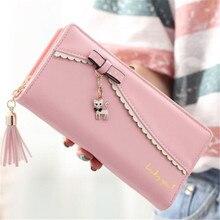PU Leather Long Wallet Women Card Holder Purse Sweet Bow Cute Cat Pendant Tassel Ladies Clutch Phone