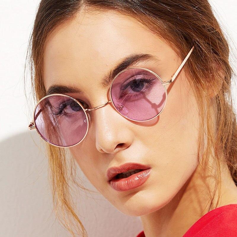 Женские солнцезащитные очки в круглой оправе, металлические очки, винтажные ретро-очки, модные солнцезащитные очки, мужские зеркальные очк...