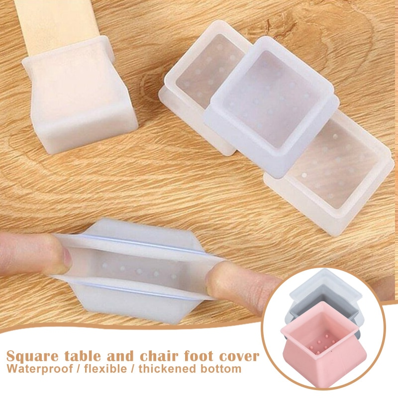 Silicone Furniture Leg Protection Cover Table Feet Pad Floor Protector Square for Home TSH Shop