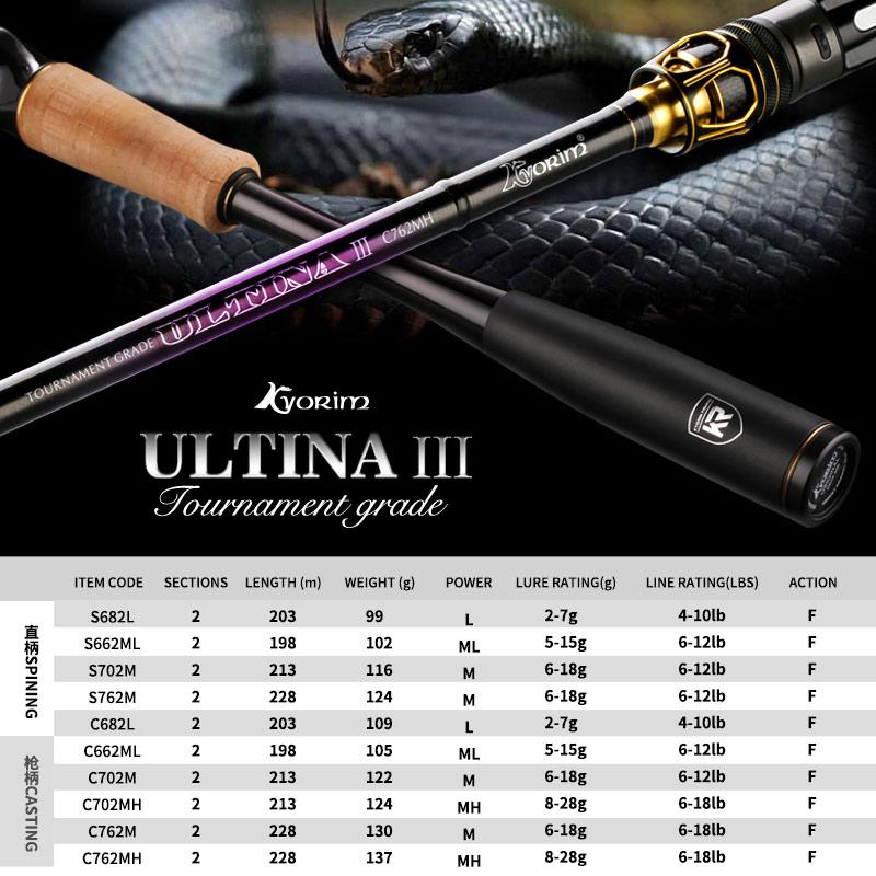 100% original Kyorim ULTINA III BASS LURE Fishing ROD Japan TORAY CARBON FIBER FUJI REEL SEAT 2.03/1.98/2.13/2.28M M/ML/MH POWER