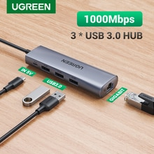 Ugreen USB Ethernet Adapter USB 3.0 to RJ45 3.0 HUB for Laptop Xiaomi Mi Box S/3 Ethernet Adapter Ne