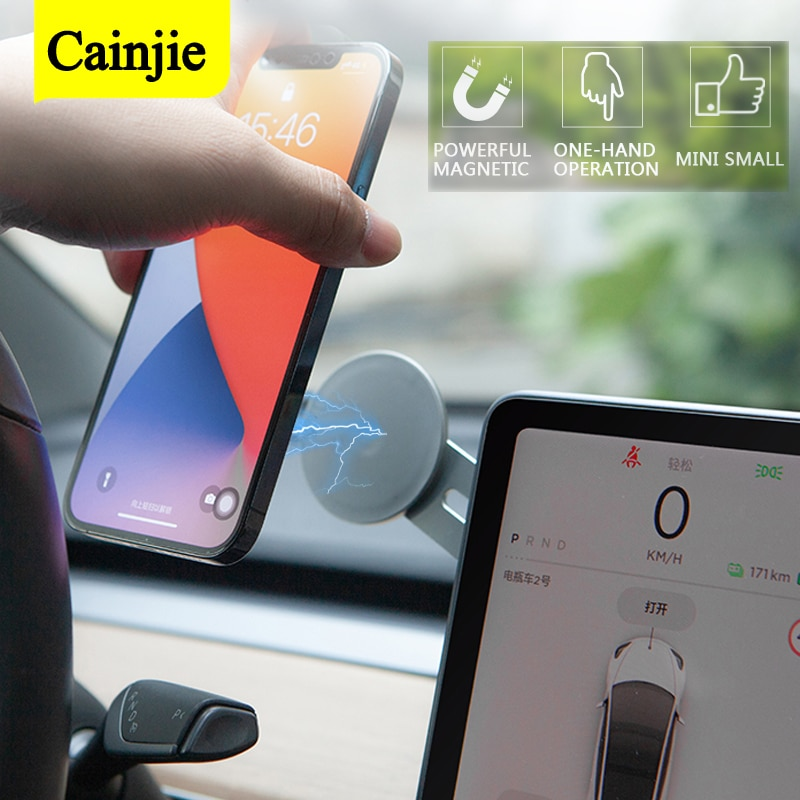 Magnetic Car Phone Holder Navigation Sticker Stand For iPhone 12 Metal Magnet GPS Car Accessoires Fo