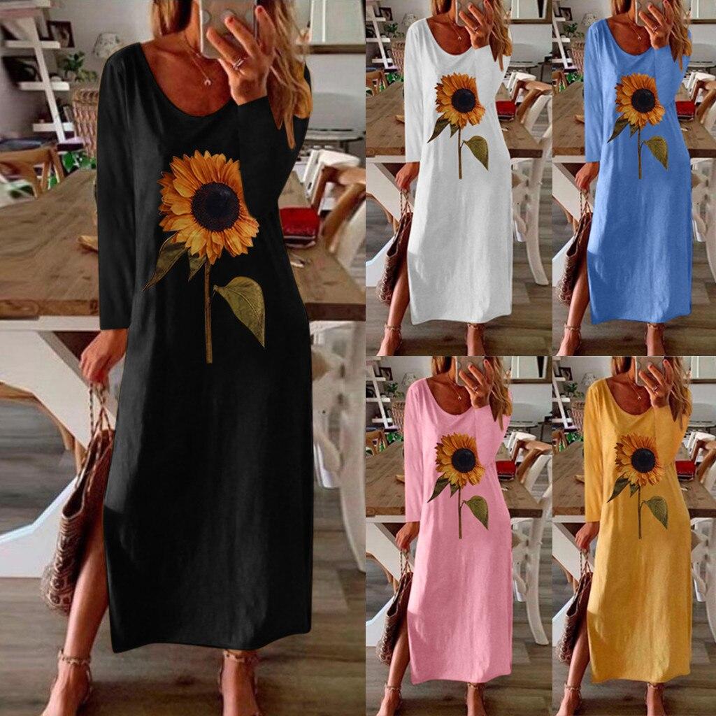 40 # vestido Casual estampado de girasol de manga larga volante estampado vestido veraniego bohemio señoras en casa vestido suelto de playa de verano