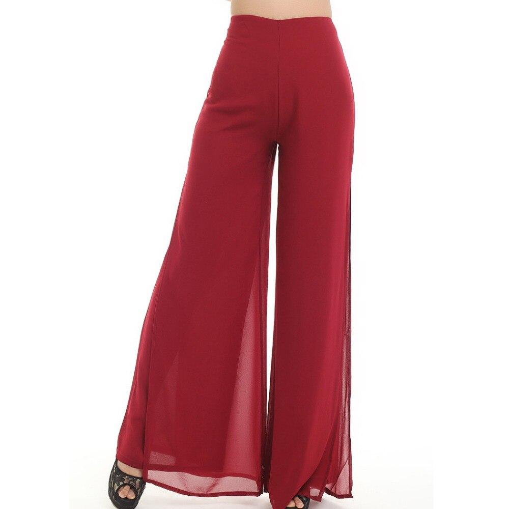 Pantalones de trabajo pantalón Furcal de talla grande OL Casual pantalones de pierna ancha señoras Culottes Euramerican sólido gasa pantalón de baile largo de mujer