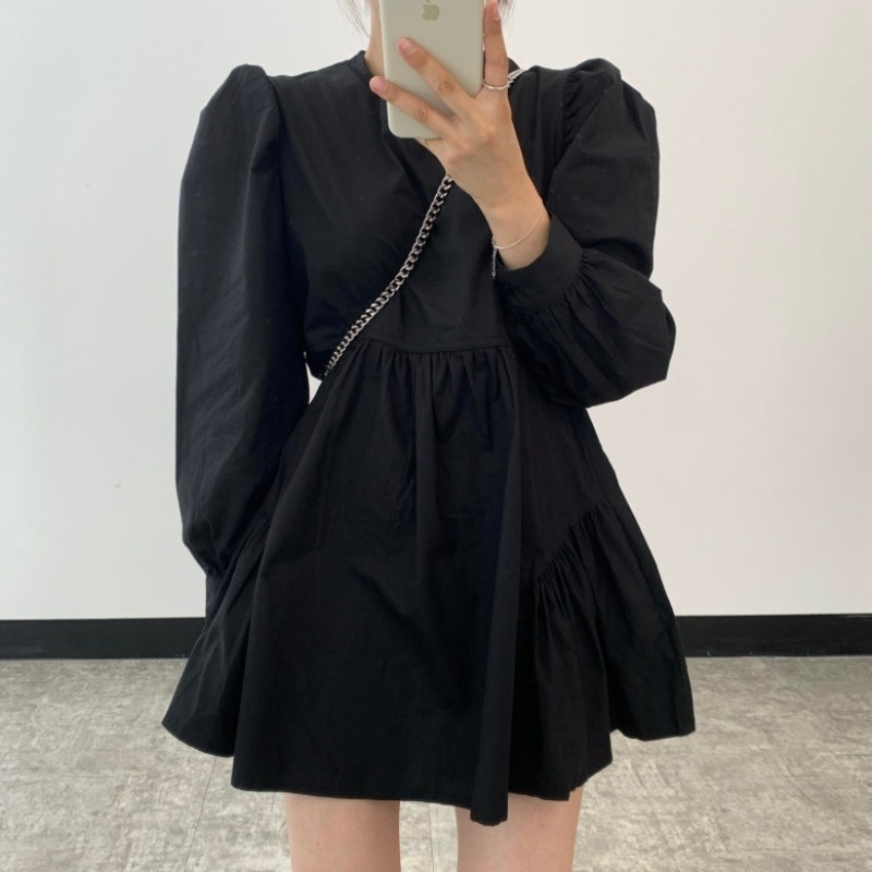 Chic Dresses South Korea Spring Simple Dark Round Neck Loose And Versatile Small Baby Dress Short Sk