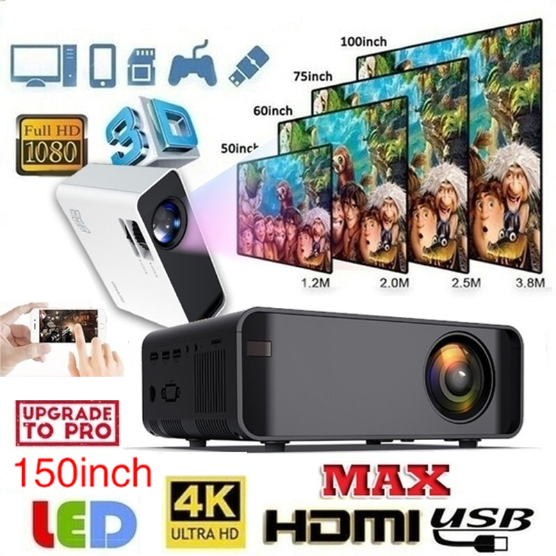Miniproyector W80 con Android 6,0, Proyector LED con WiFi, 2500 lúmenes, TV,...