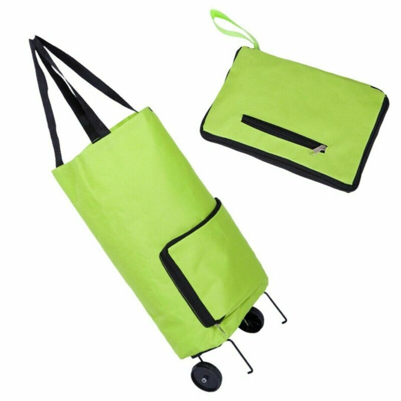 1 pçs criativo carrinho de compras portátil dobrável saco de compras carrinho de carrinho de bagagem leve dobrável rodas saco de mercado troles