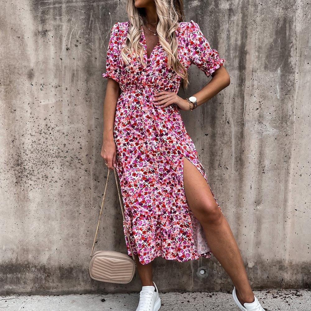 2021 Spring Floral Print Slim Long Shirt Dress Women V-neck Button Split Party Dress Autumn Long Sleeve Elastic Waist Maxi Dress plus button front smocked waist floral dress
