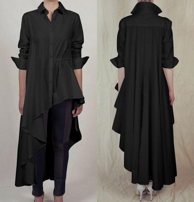 Las mujeres blusa botón ZANZEA 2020 asimétrico elegante Casual camisas de manga larga Mujer solapa de encaje-Blusas túnica de diseño oversize 7