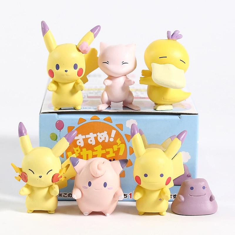 Anime de dibujos animados monstruos Mew Psyduck Jigglypuff Ditto Mini PVC figuras juguetes 6 unids/set