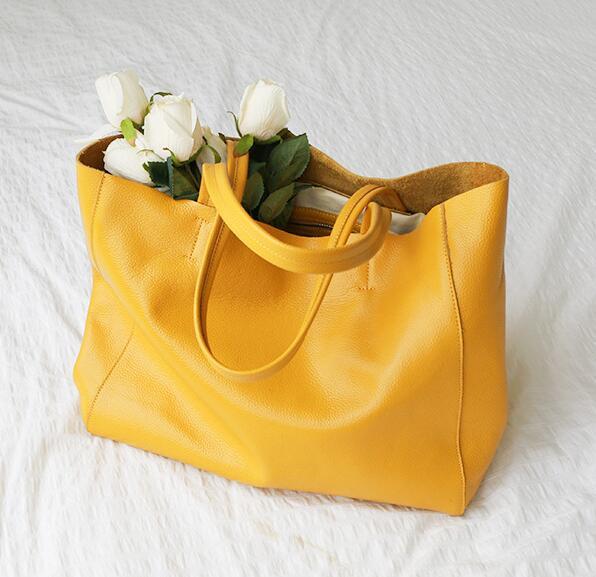 حقيبة يد نسائية من الجلد الأصلي ، حقيبة حمل كبيرة ، حقيبة كتف للسفر ، حقيبة فاخرة ذات سعة كبيرة ، 2020
