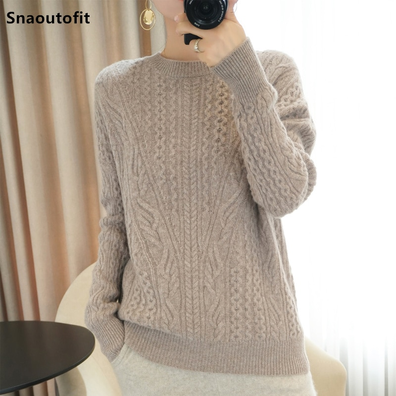 Snaoutofit Autumn Winter New Product 100% Pure Wool Sweater Women's Top Loose Thick Warmth Lazy Style Jacquard Knitted Pullover enlarge