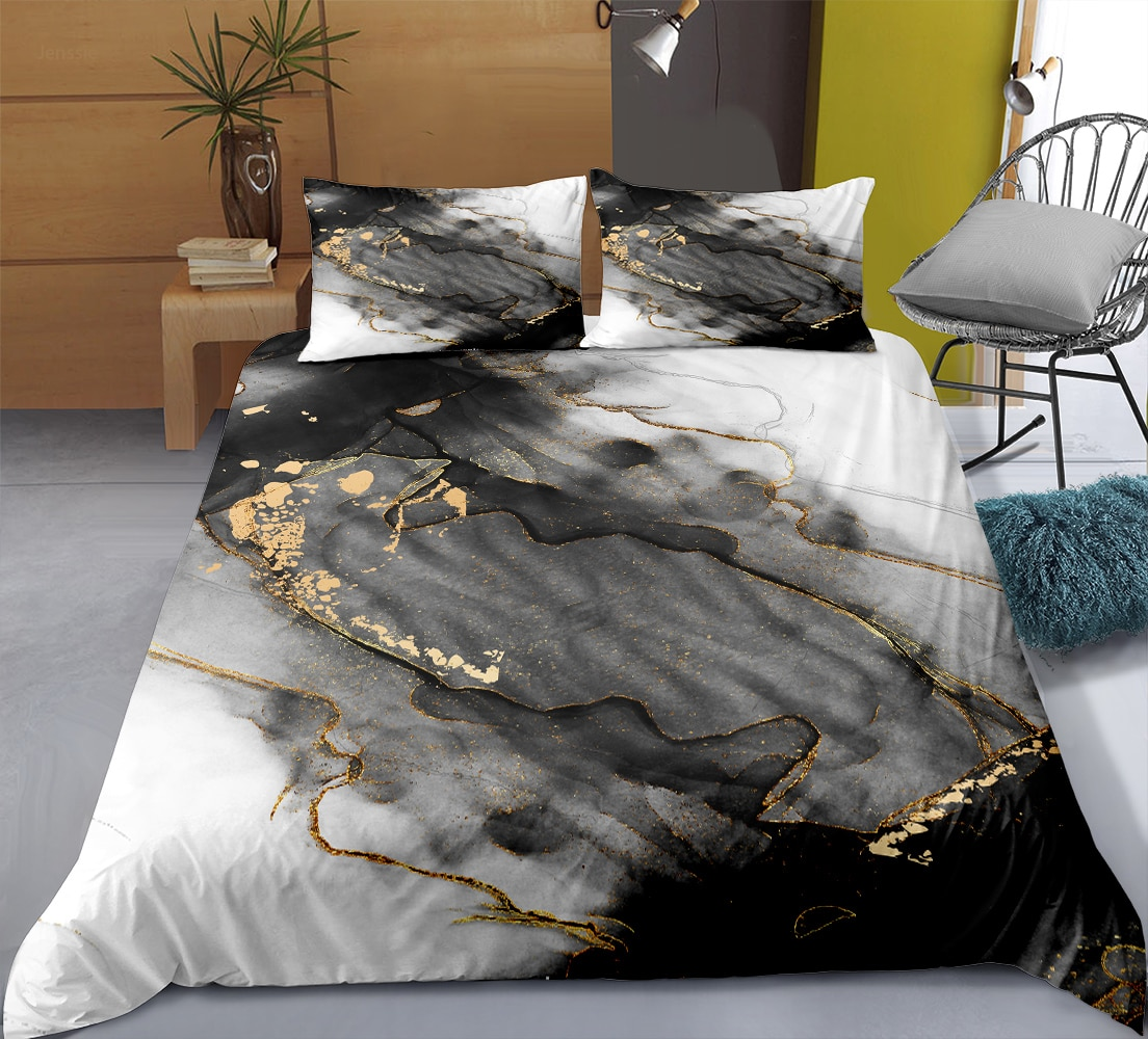 Fashion Marble Series Bedding Set Adult Queen King Size Bedroom Decor Quilt Cover Pillowcase 2/3 Piece Bed Linen Home Textiles