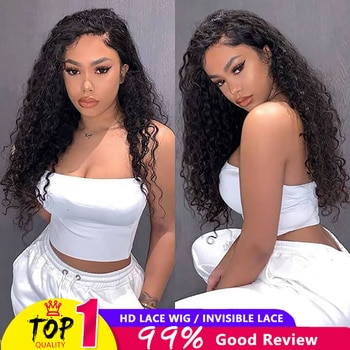 Cheap 250 Density Human Hair Wigs Water Wave Lace Front Wig Human Hair Wigs Hd Transparent Lace Frontal Wig For Women