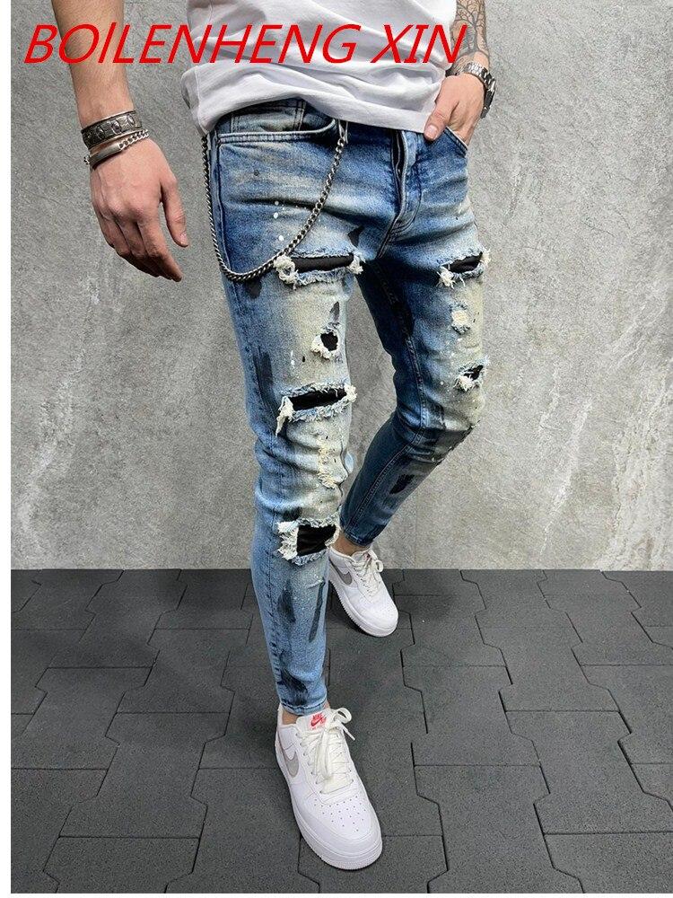 Мужские модные дизайнерские брендовые черные джинсы скинни на молнии, джинсы с драпировкой мужские джинсы, повседневные брюки-карго Frenum