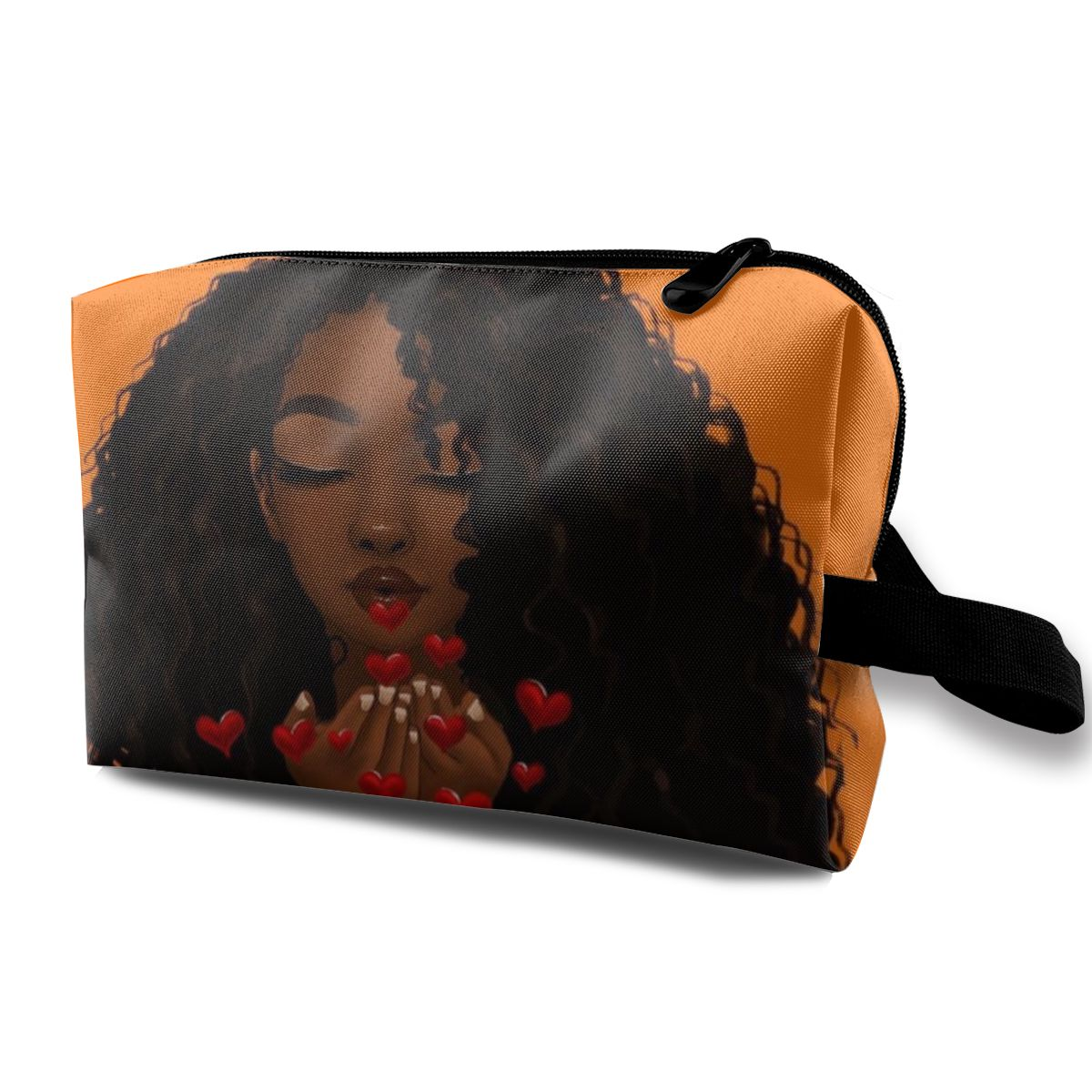 NOISYDESIGNS, bolsa de cosméticos negra con estampado africano para chicas, bolsas cosméticas bonitas para viajar, bolsa de maquillaje para mujeres, estuche de lápices