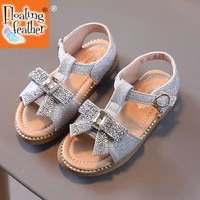 size 26 36 kids bowknot crystal princess sandals for girls soft sole flat beach shoes for children open toe light non slip shoes