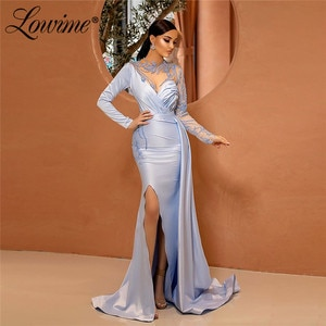 Formal Elegant Purple Evening Dresses Dubai Kaftans Long Sleeves Mermaid Arabic Women Middle East Prom Gowns Party Dress 2020