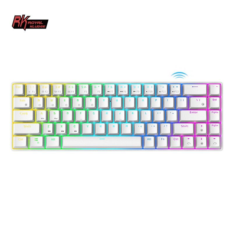 لوحة مفاتيح ميكانيكية من نوع Kludge RK68 Teclado Mecnico RGB ، لوحة مفاتيح ميكانيكية من نوع PC Superkey ميكانيكي 68 مفتاح لوحة مفاتيح لاسلكية