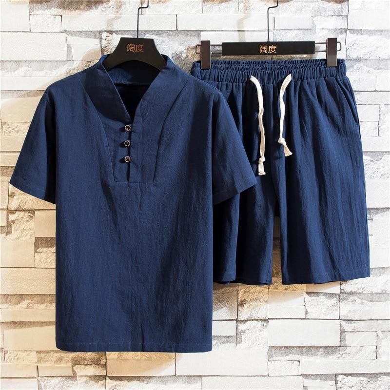 New summer men's ethnic linen V-neck short sleeve shorts suit men's solid large short sleeve T-shirt suit