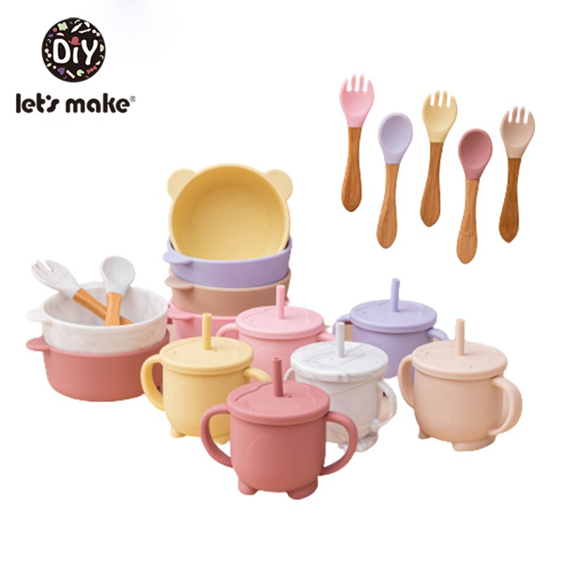 Solid Colour Kids Tableware Set Portable Baby Silicone Plate Bowl cup Toddler Feeding Sucker Infant Dishs With Silica Gel Spoon