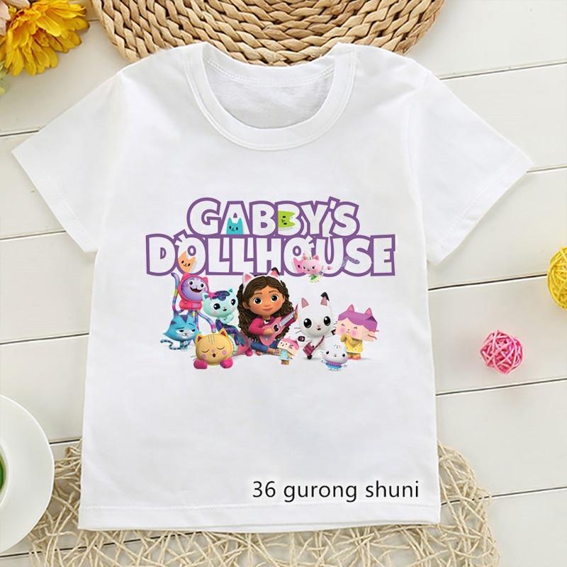 Kawaii футболки для девочек cute Gabbys кукольный домик с мультяшным принтом детская футболка летние модные футболки Одежда для девочек Белая кофт...