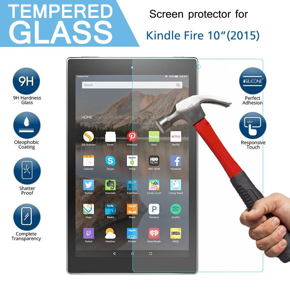9H Härte HD Gehärtetem Glas für Amazon Kindle Feuer 10 + Alkohol Tuch + Staub Absorber Screen Protector für kindle HD 10 10,1