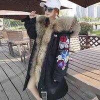 2021 vest embroidered padded jacket winter pie overcoming big raccoon fur collar vest jacket women winter