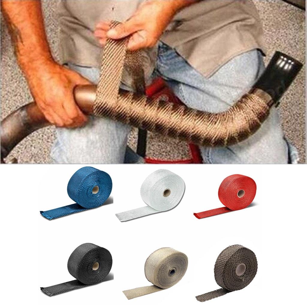 2.5cm 5m carro motocicleta tubo de escape envoltório header calor envoltório turbo mainfold calor escape térmica envoltório fita aço inoxidável laços