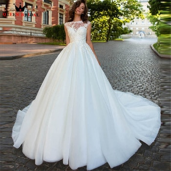 Elegant Ball Gown Wedding Dresses Tulle Lace Crystal Beaded Long Formal Bridal Gown 2022 New Design Custom Made DS58