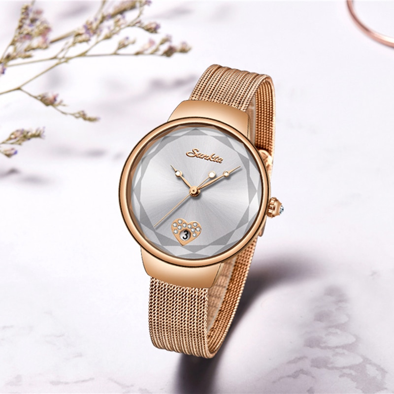 SUNKTA 2021 Women Quartz Watches Ladies Top Brand Luxury Female Wrist Watch Mesh belt Waterproof Clock Relogio Feminino Gift enlarge