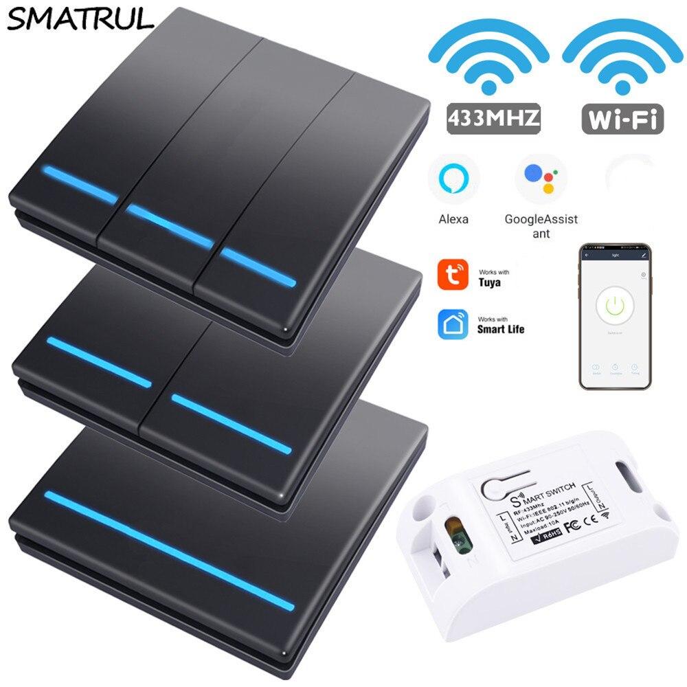SMATRUL Tuya Smart Life APP WiFi 1/2/3 бандажный кнопочный светильник RF 433 МГц настенный DIY релейный таймер модуль Google Home Amazon Alexa