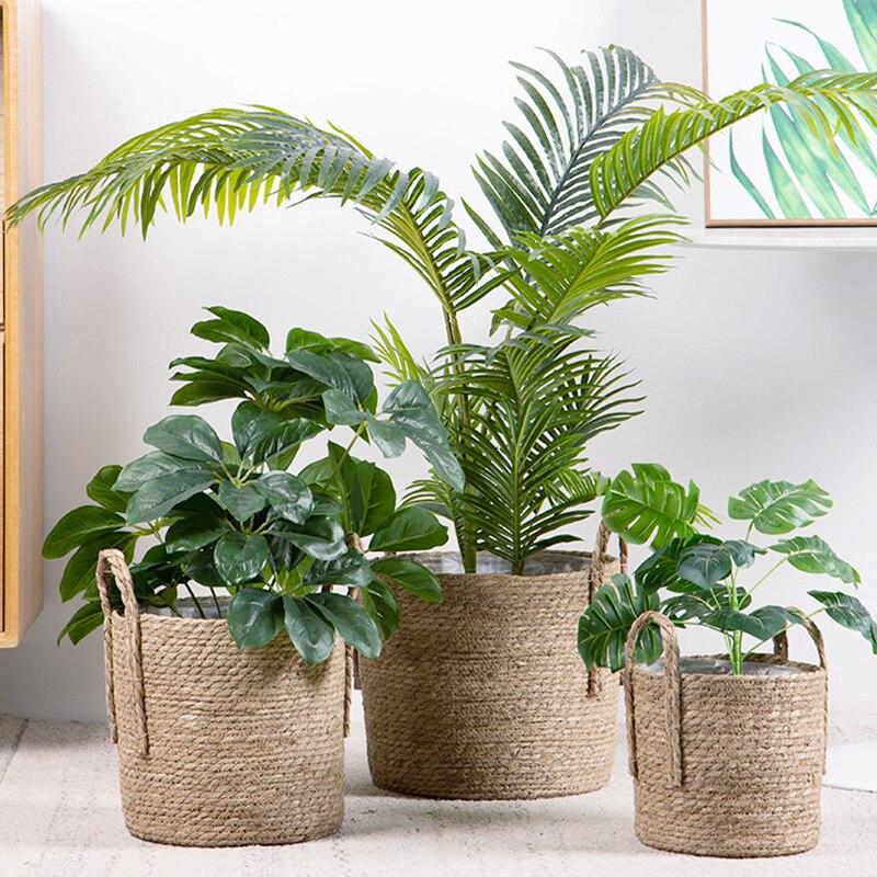 Rattan Storage Basket Flower Pots Hand Woven Wicker Basket Sundries Organizer Home Garden Decoration