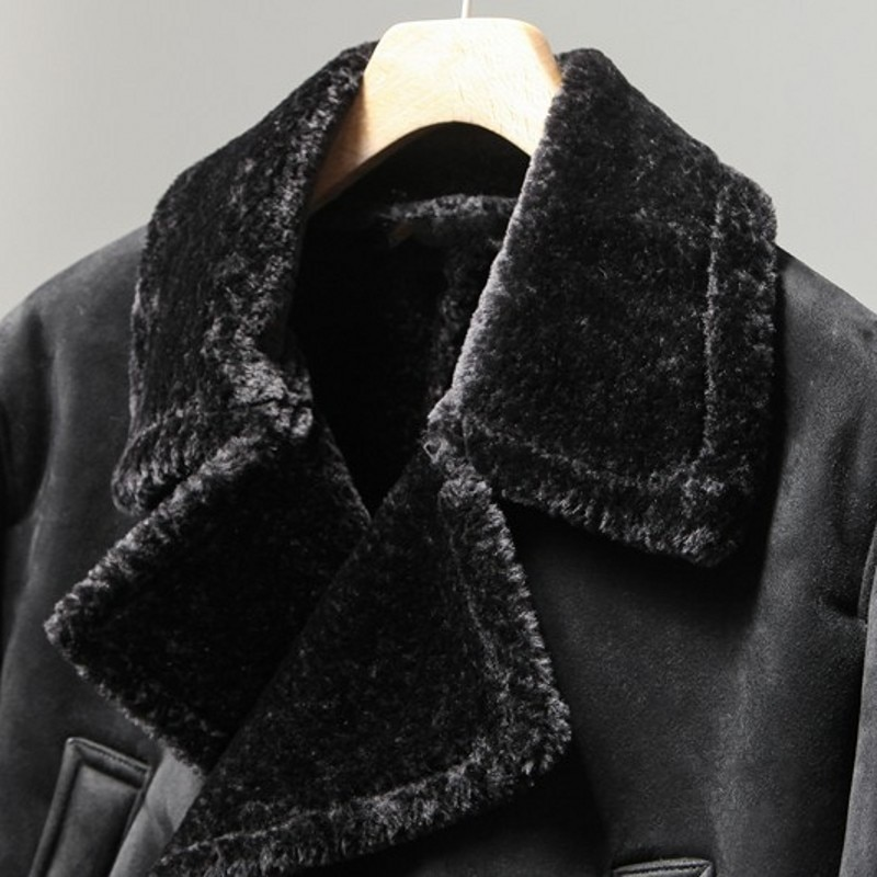 Winter Mens Shearling Overcoat Thick Fur Lining Warm Long Double Breasted Suede Leather Jacket Motorcycle Outwear Coat