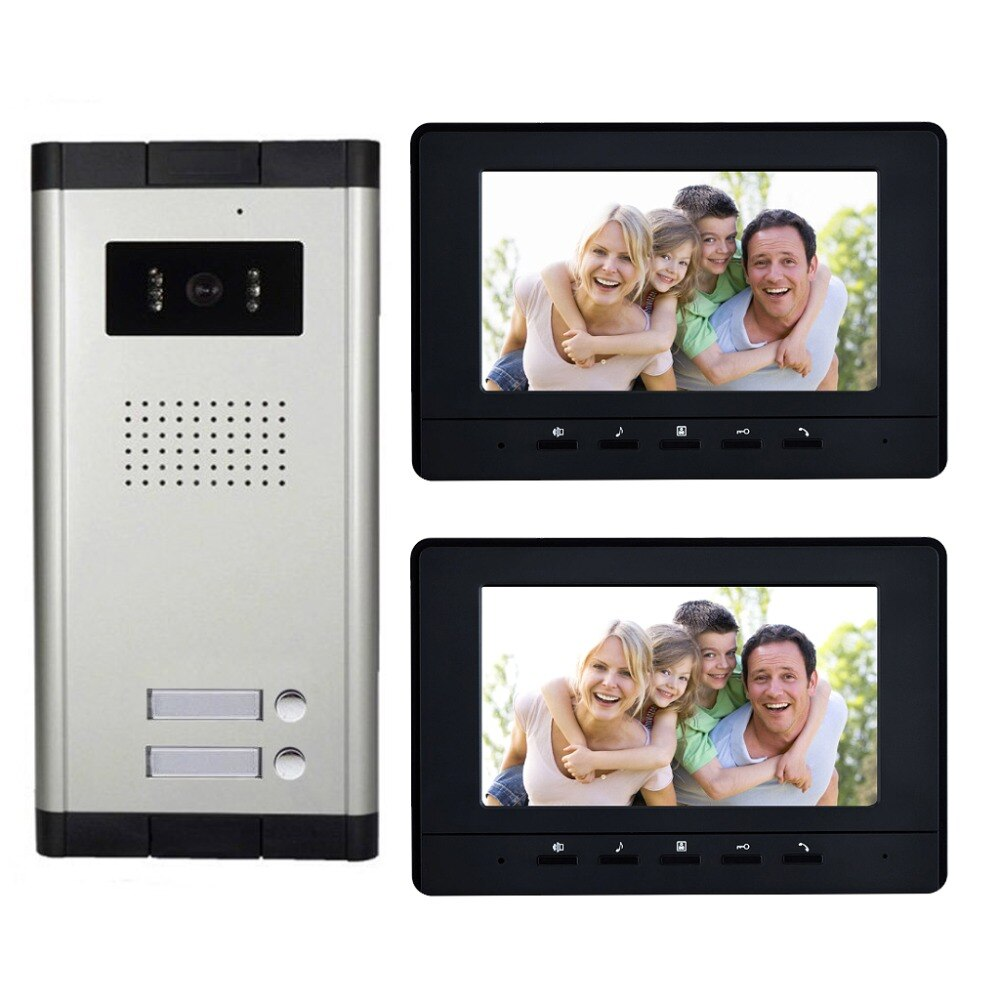smart video intercom system door lock voip product for moden hotel office apartment waterproof video intercom with door release 2 Units Apartment intercom system Video Door Phone Door Intercom HD Camera 7 Monitor video Doorbell for 2 Household