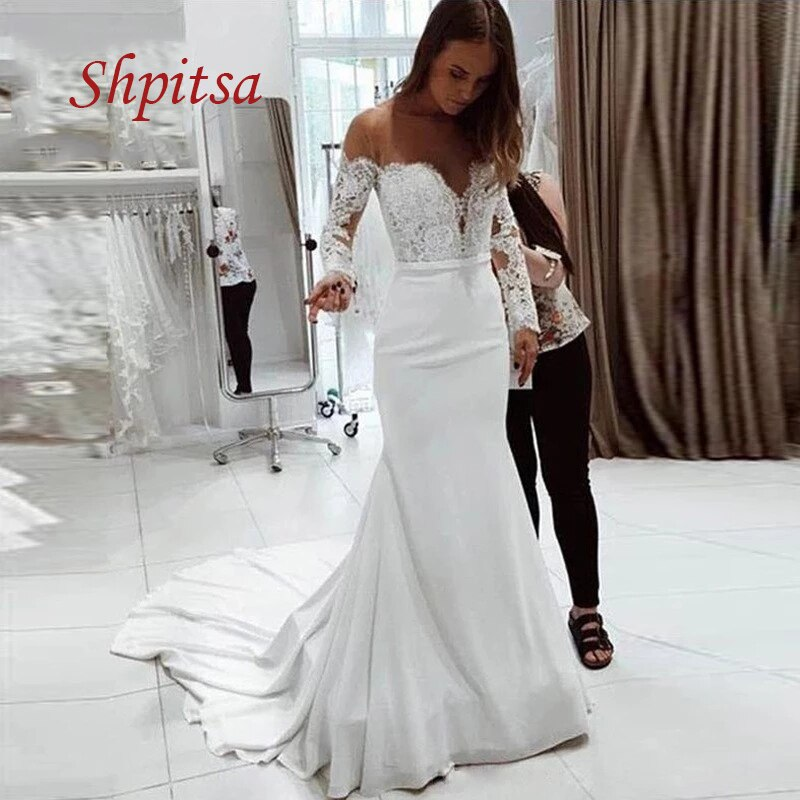 Review Sexy Long Sleeve Lace Wedding Dresses Mermaid Satin White Ivory Plus Size Off Shoulder Women Weeding Bridal Bride Dresses
