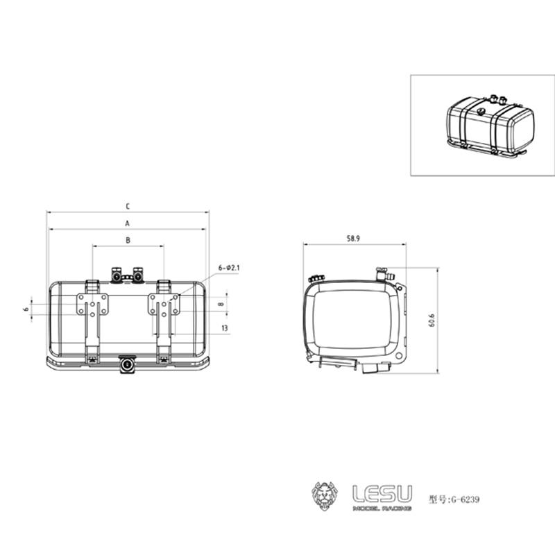 LESU 1/14 Metal 100MM Fuel Tank For DIY Hydraulic Dumper Tractor Truck TH15871-SMT5 enlarge