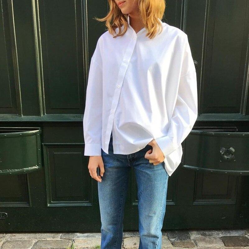 قميص أبيض قميص قطني بكم طويل بدوره أسفل الرقبة أزرار فضفاضة قميص غير رسمي هوت تونك صديقها الشارع الشهير