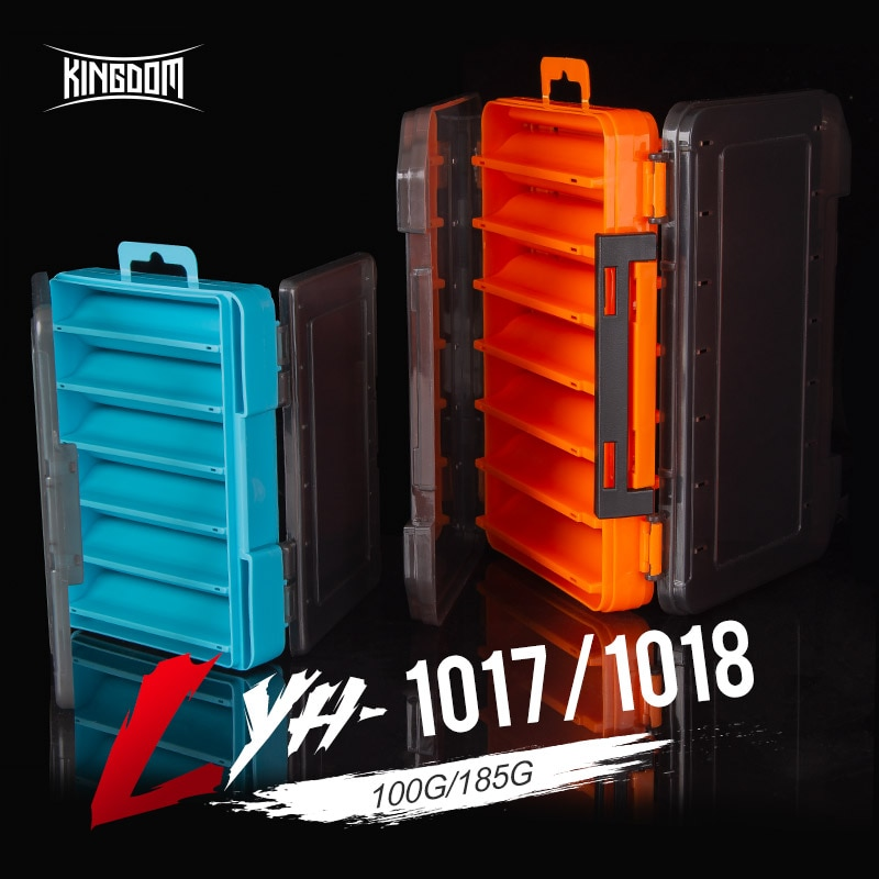 Kingdom Fishing Box 12 14 compartments Fishing Accessories lure Hook Boxes storage Double Sided High Strength Fishing Tackle Box