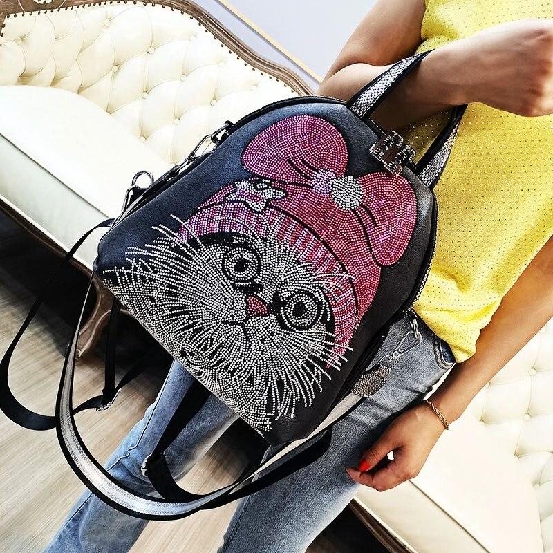 Cute Cat Prints Mochila Para Hombre Rhinestone Shoulder Bags Multifunction Women's Backpack Ita School Girls Mochila