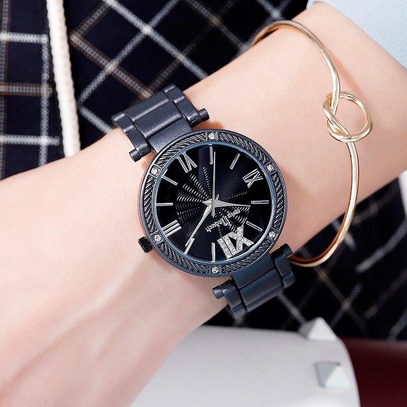 Women Watch Black Montre Femme 2021 Women's Fashion Matte Surface Wristwatches Relojes Para Mujer Lu