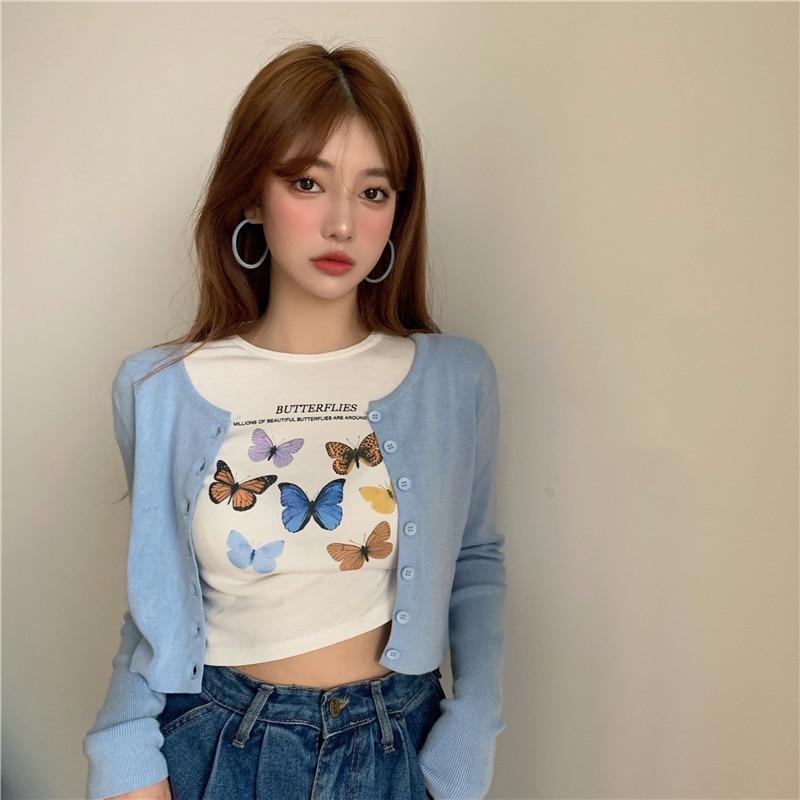 2020 printemps été style coréen papillon imprimé à manches courtes conception courte t-shirts femmes t-shirt femme haut pour femme (R98058)
