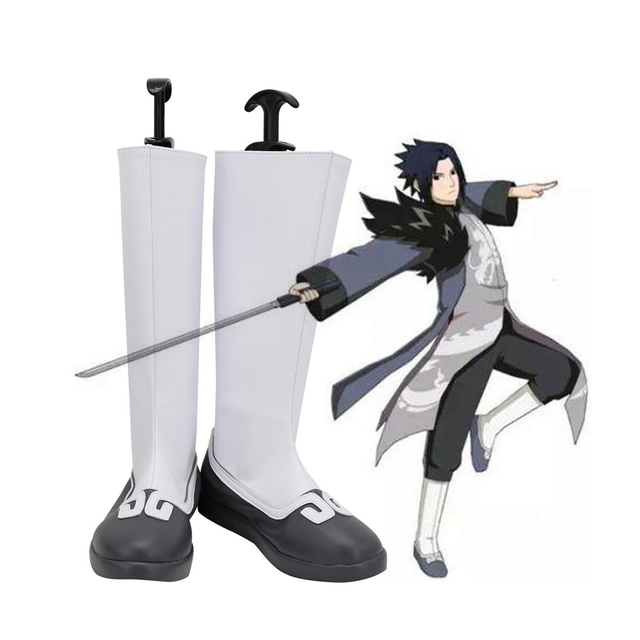 Naruto Sasuke Uchiha botas Cosplay zapatos blancos hechos a medida cualquier tamaño para Halloween Comic-con accesorios Cosplay