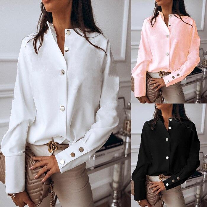 2020 women's fashion shirt European and American ins net red long-sleeved metal button shirt top