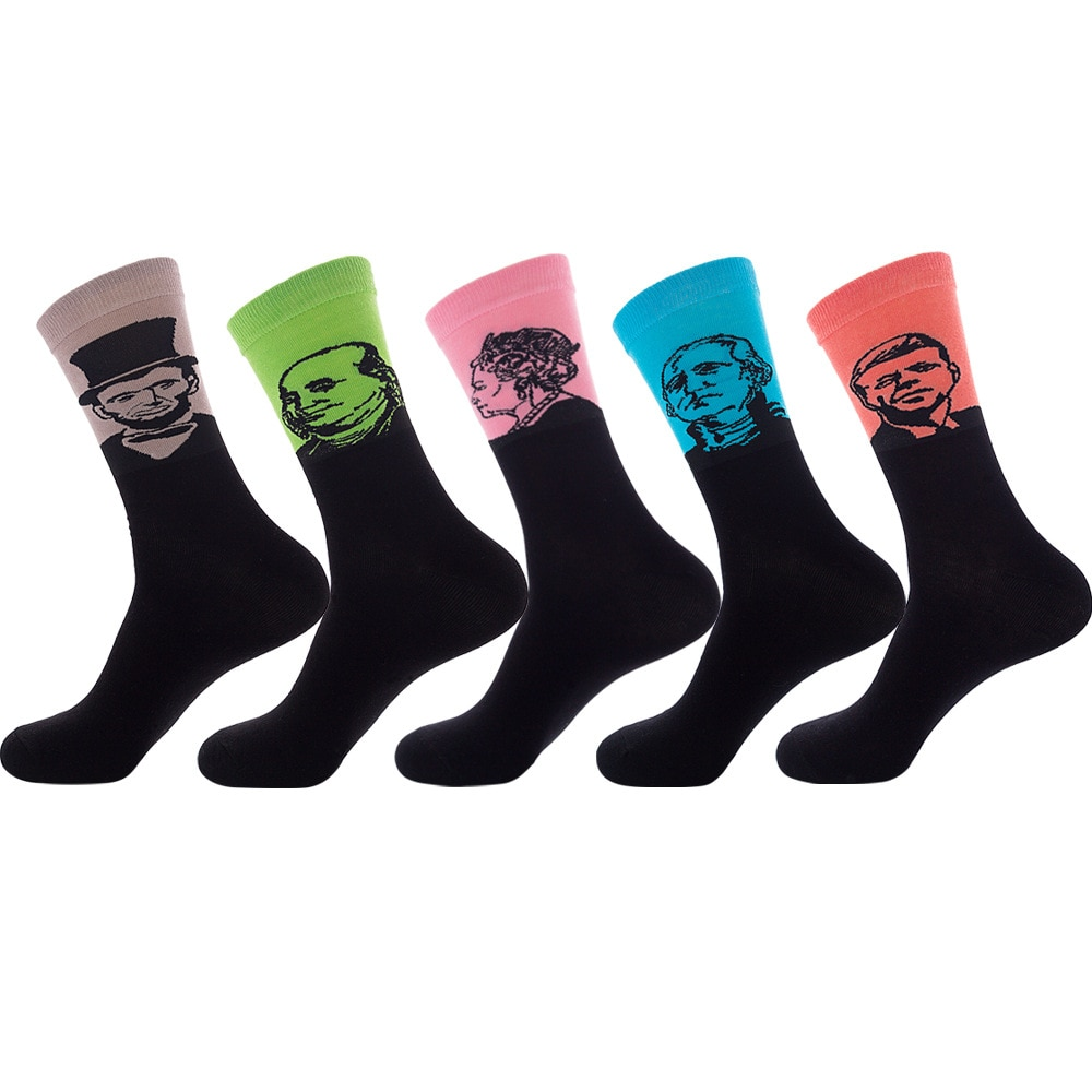 Unisex Men And Women Combed Cotton Jacquard Pattern Famous Character Ankle Socks